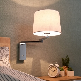 Fabric wall light Xavian with USP port, extendable
